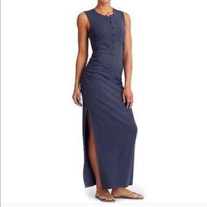 ATHLETA Womens Rib Henley Maxi Dress